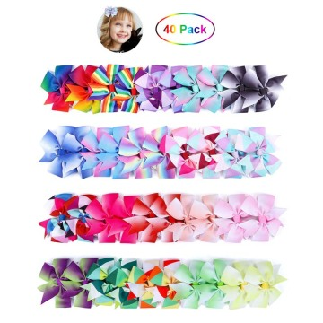 Fast Delivery for Chiffon Hair Scrunchies Baby Grosgrain Hair Bow Clips 40P supply to Saint Vincent and the Grenadines Supplier