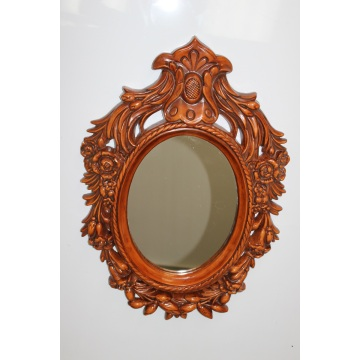 round mirror wood frame