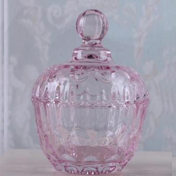 Round Pink/Clear Glass Candy Jar With Glass Lid