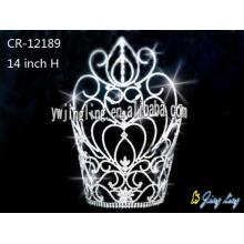 Reliable for Angel Wing Shape Pageant Crown 14 Inch Tall Cheap Rhinestone Pageant Crowns export to Fiji Factory