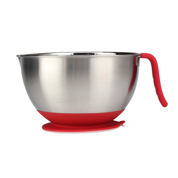 Long Handle Stainless Steel Salad Bowl with Spout