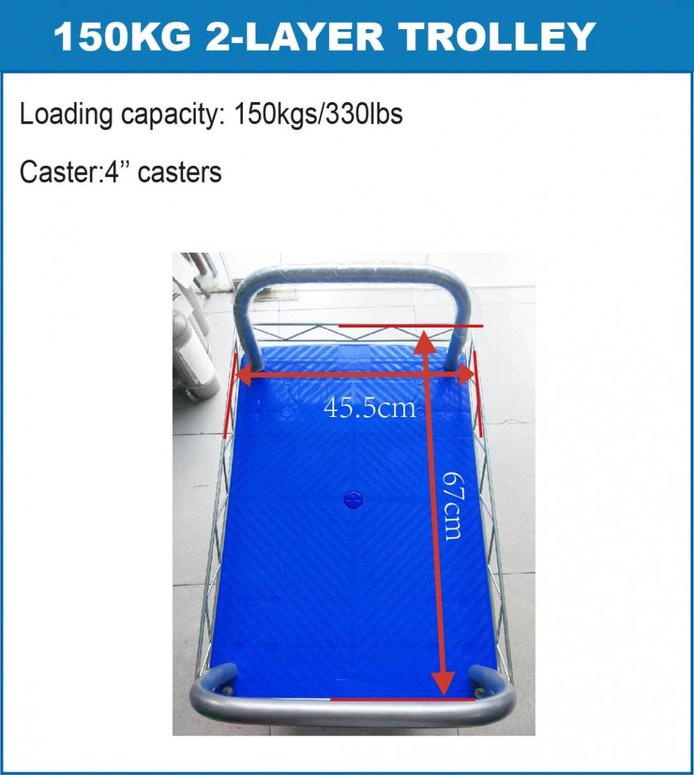 150kg 2 Layers Platform Push Cart Trolley Using Space