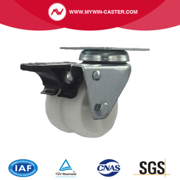 2 inch swivel braked twin wheel white PP industrial caster