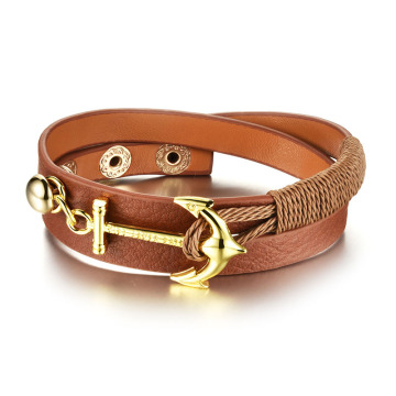 Gold anchor women's leather wrap bracelet