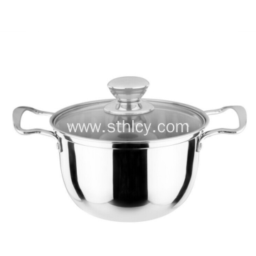 Non Magnetic Stainless Steel Double Handle Soup Pot