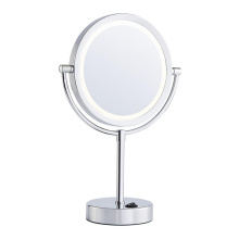 Lighted double adjustable standing mirror