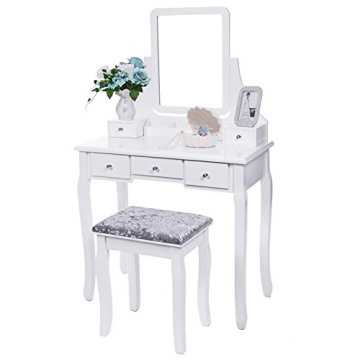 Vanity Set with Mirror & Cushioned Stool Dressing Table Vanity Makeup Table 5 Drawers 2 Dividers Movable Organizers White