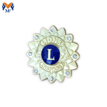 Gold sunflower lion badge enamal pin