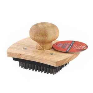 BBQ grill cleaning brush with wooden handle
