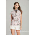 new fashion ladies front frill printed viscose blouse