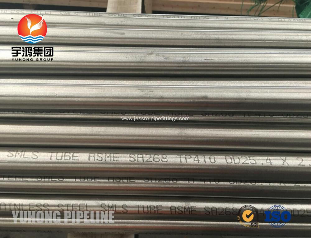 Stainless Steel Seamless Tube ASME SA268 TP410 UNS 41000 For Condenser ET and UT