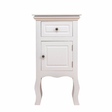 Furniture Wood White 1-Door 1-Drawer Bedside Nightstand Furniture Wood White 1-Door 1-Drawer Bedside Table Nightstand Cabinet