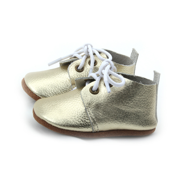 Wholesale New Styles Real Leather Baby Gold Oxford Shoes