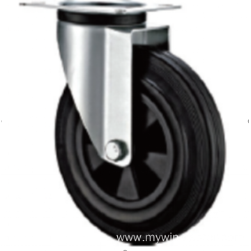 100  mm European  industrial rubber  swivel  casters without brakes