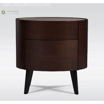 Round Solid Wood Night Stand With Mental Legs
