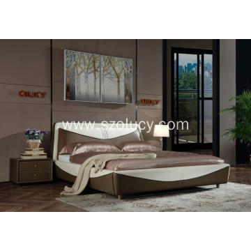 Holiday sales for China Genuine Leather Soft Bed,American Style Soft Bed,Soft Leather Beds Manufacturer and Supplier Sweet fashion soft bed supply to United States Exporter