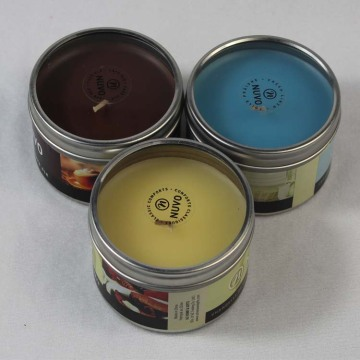Accept custom logo and scent candle in tin jar