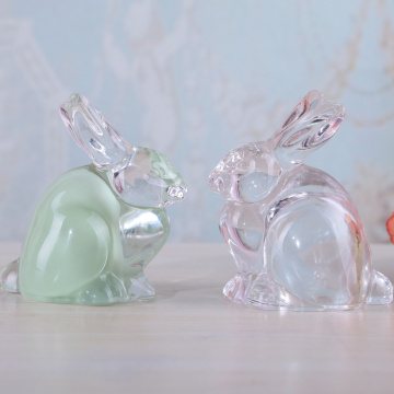 Rabbit Shape Glass Home Decoration