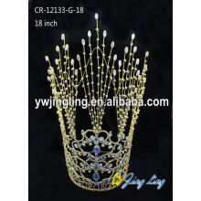 China for Pageant King Crowns Wholesale Rhinestone Gold Pageant Crowns supply to Tuvalu Factory