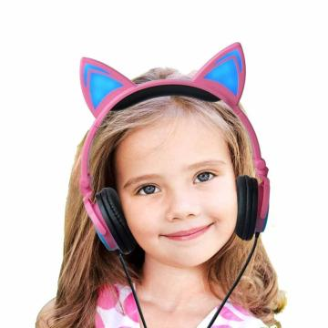 LX-L107 Wholesale colorful wired glowing cat ear headphones