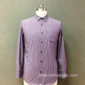 Men's cotton purple yarn dyed long sleeves shirt