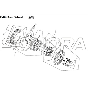 F-09 Rear Wheel for XS125T-16A Fiddle III Spare Part Top Quality