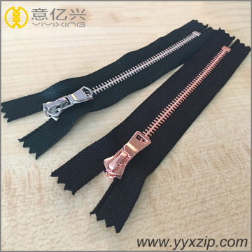 silver rose gold two point teeth metal zippers