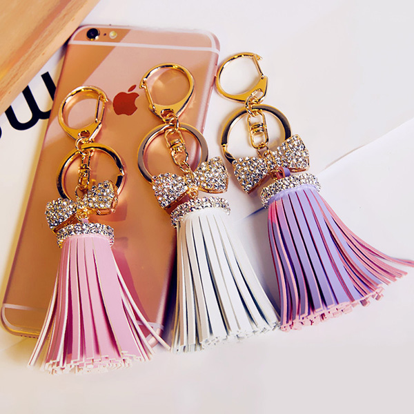 Leather Tassels Keychain With Rhinestone Bowknot
