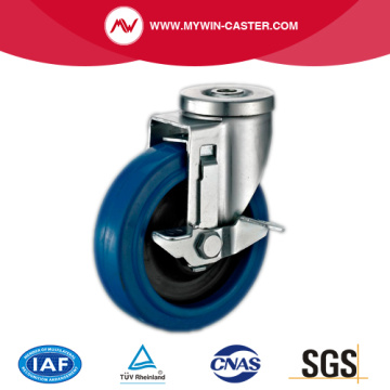 Side Braked Bolt Hole Swivel Elastic Rubber Caster