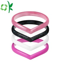 Popular Heart-shape Silicone Rings Wedding Elastic Love Ring