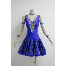 20 Years Factory for Latin Dress Patterns Blue salsa performance outfits supply to Palau Importers