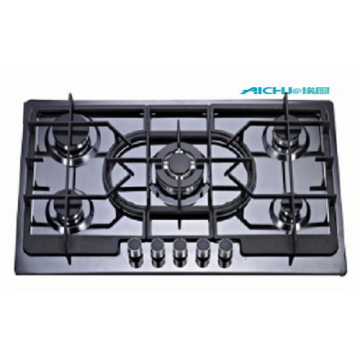 5 Burners Black Steel Gas Hob Top