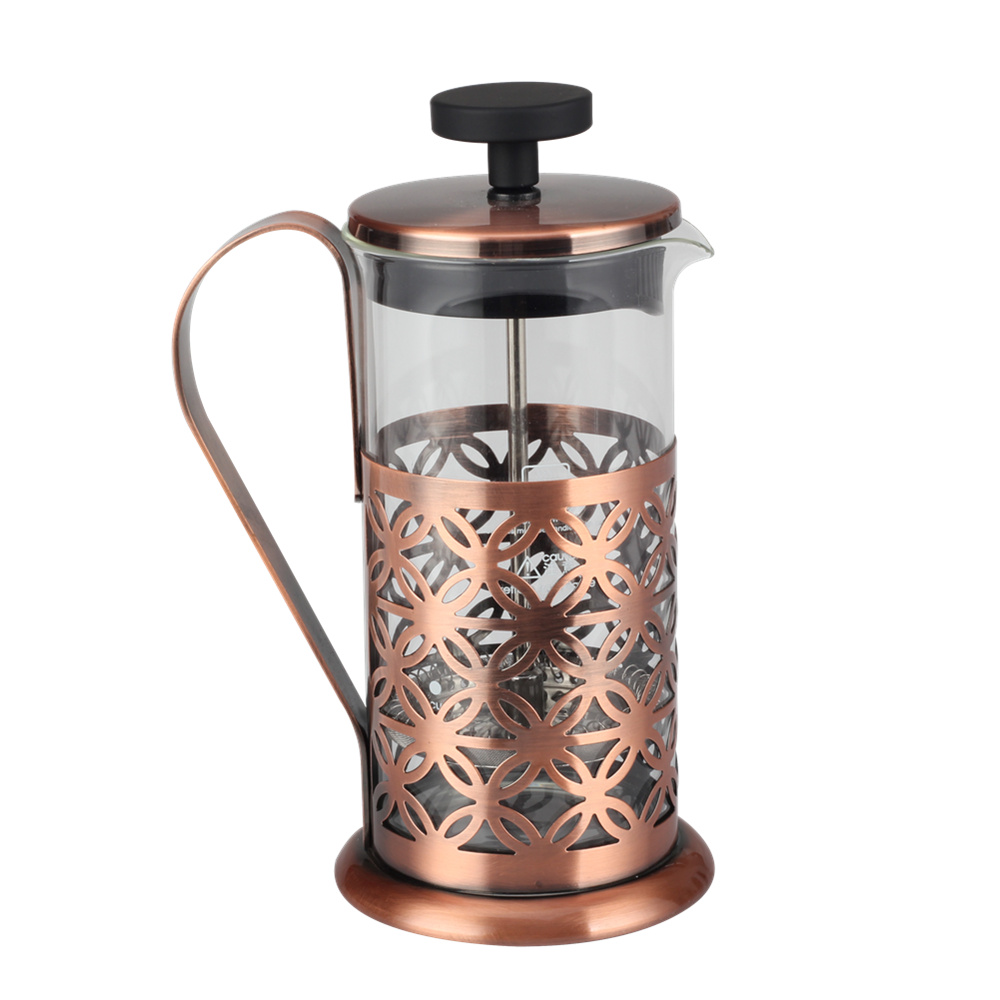 glass french press copper frame