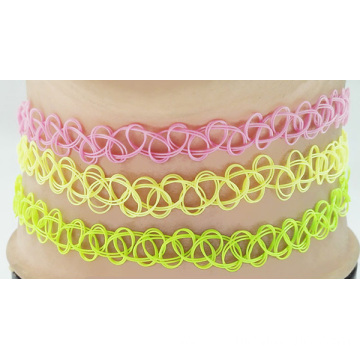 Fashion Multi Neon Color Handmade Tattoo Choker Necklace