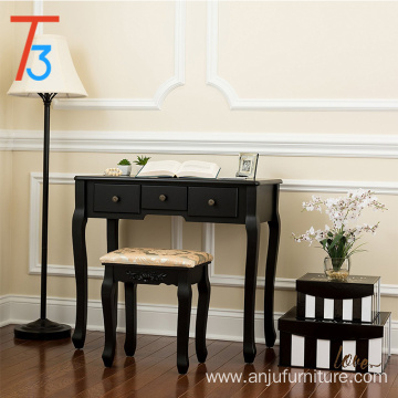 black single mirror dressing set five organization drawers vanity table with wooden tool