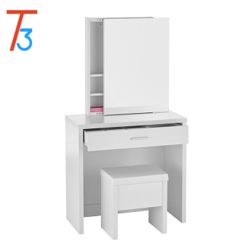 Home Furnishings Contemporary 3 Piece Vanity Table Set with Sliding Mirror and Stool Storage - White