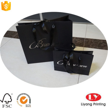 Black Paper Bag with Silver Stamping Logo