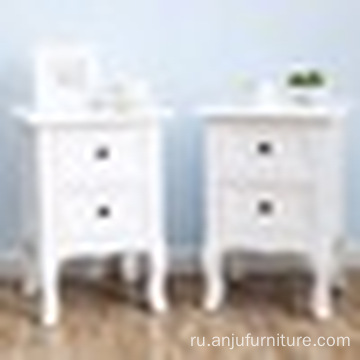 White Nightstand Set 2 Bedside End Table Pair Shabby Chick Bedroom Furniture