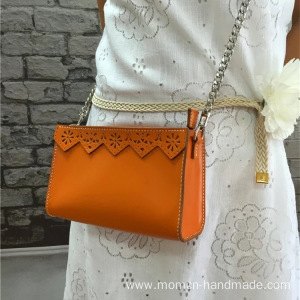 Pure hand-made layer leather lady's small satchel