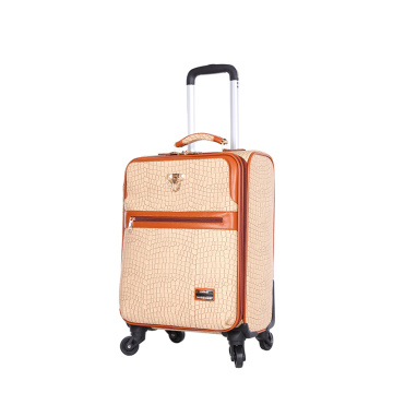 Simple PU leather luggage with silence wheels
