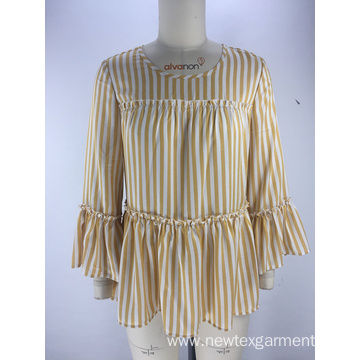fashion striped frill sleeve round neck ladies blouse