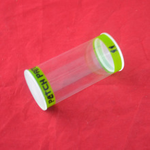 Clear plastic silk printing tube box packaging with factory pricing and injection caps