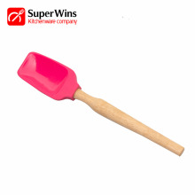 Kitchen Heat Resistant Silicone Spatula With Wooden Handle