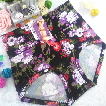 OEM new style wholesale plus size sexy women black panty little printed flowers bamboo fiber underwear 6683