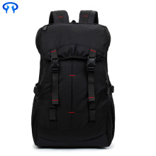 Black casual waterproof nylon mountaineering backpack