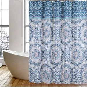 Hot Selling for Peva Shower Curtain Shower Curtain PEVA Blue Flower supply to Bahamas Importers