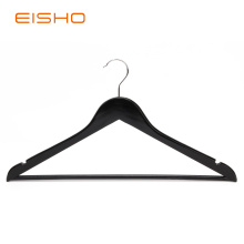 EISHO Black Flat Wood Suit Hangers With Bar