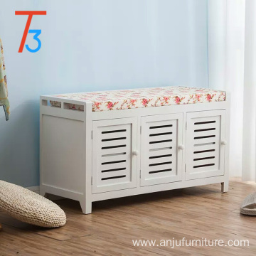 OEM/ODM for Wood Storage Bench Wooden Storage Bench Chest cabinet with cushion seat for shoe change export to Virgin Islands (U.S.) Wholesale