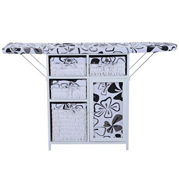 White/Black Wood Wicker Ironing Board with cabinet