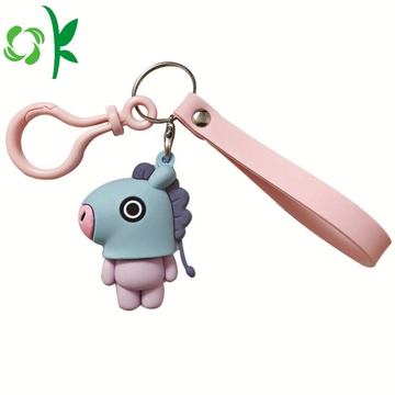 High Quality Cartoon Horse Keychain Silicone Keyring